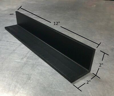 "BLACK REPRO UHMW ANGLE, 1/4"" thick x 2"" Legs x 12"" Long"