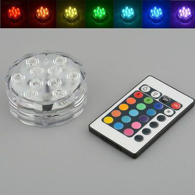68A5 10 LED Multi Color RGB Submersible Durable Wedding Party Vase Base Light Re