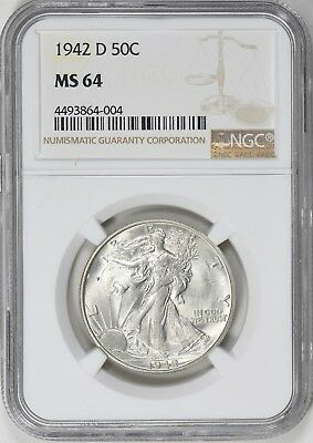 "1942-D Walking Liberty Half Dollar NGC MS-64 ""GORGEOUS"""