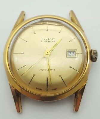 Vintage Tara Mens Watch Automatic Gold Plated 21 Jewels  *Not Working*