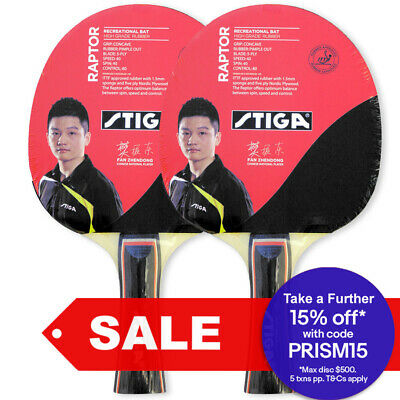 2pc Stiga Raptor Table Tennis Ping Pong Game Rubber Racket Paddle Bat Black Red