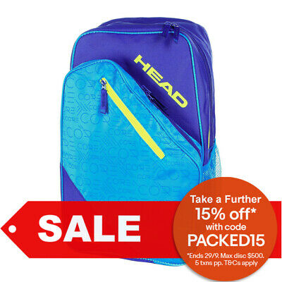Blue Yellow Head Core Tennis Backpack Carry Sports Bag Cover for Racquet Racket