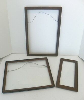 3 Vintage Antique Wooden Picture Frames, Very Wavy Old Glass