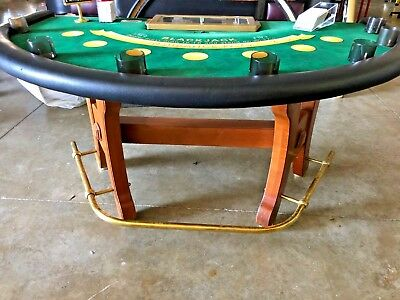 Black Jack Table Used Casino style W-Foot Rest #79