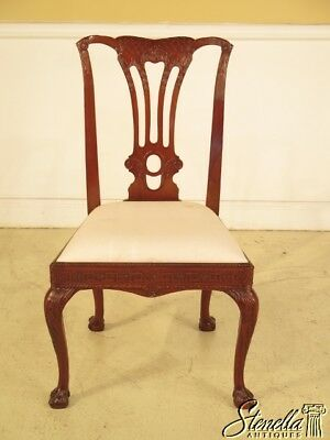 39333E: Carved Mahogany Claw Foot Side Chair