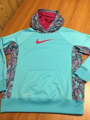 Girl's Nike Therma-Fit 100% Polyester Teal Pull Over Hoodie Sweatshirt Youth XL