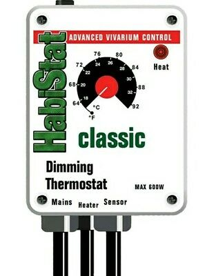Habistat Dimming Thermostat 600W White Classic Range Reptile Dimmer Stat