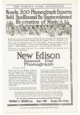 Vintage, Original, 1915 - New Edison Diamond Disc Phonograph Advertisement