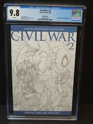 Marvel Civil War #2 2006 Cgc 9.8 White Pages Michael Turner Skecth Variant