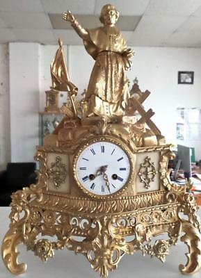 Antique French 19th c Gilt Ormolu Bronze Figural 8 day Bell Strike Mantle Clock
