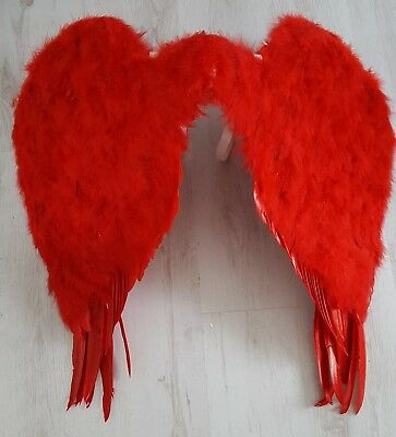 Red feathered wings large Halloween