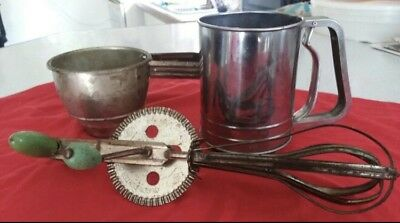 vintage Antique Flower Sifter, Sugar Sifter And Hand Crank Mixer.