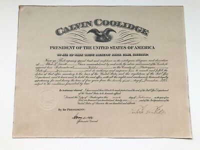 CALVIN COOLIDGE signed 1925 Presidential appointment KOHLER WISCONSIN POSTMASTER