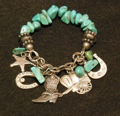 Vintage Turquoise and Silver Western Cowgirl Charm Bracelet, Horseshoe Boots ++