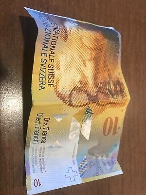 Banknote of Switzerland 10 Swiss Francs Note 8th Series Swiss Money Currency