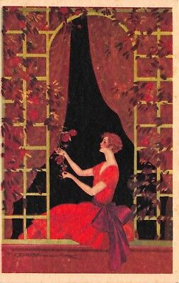 Corbella Artwork Postcard Beautiful Woman in Red Picking Red Roses~119333