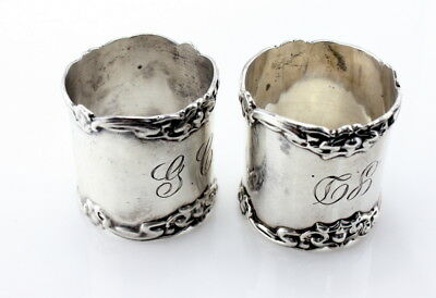 Sterling Silver Pair Of Napkin Rings Monogrammed Heavy No Reserve #2654