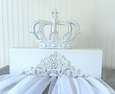 NEW** Shabby/White Canopy Bed Crown Baby Nursery SET sheers Party Wedding CHIC
