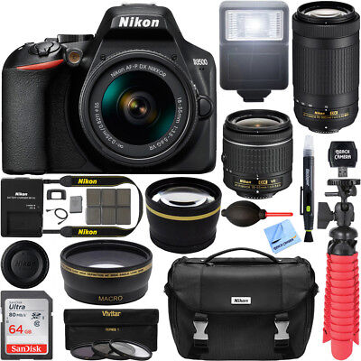 Nikon D3500 DSLR Camera w/ AF-P DX 18-55mm & 70-300mm Zoom Lens 64GB Bundle