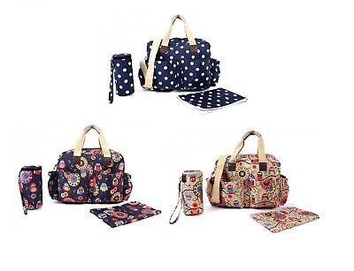 Navy / Beige Owl / Polka Dot 3PCs Baby Nappie Diaper Changing Bag Set 3 Designs