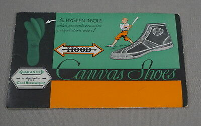 Original 1930's-1940's Hood Canvas Shoes Advertising Ink Blotter Baseball Image