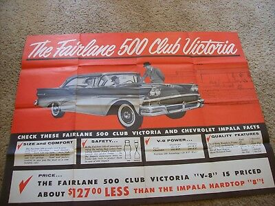"""Huge vintage poster, 34'X44"""", 1958 Ford Fairlane 500 Club Victoria."""
