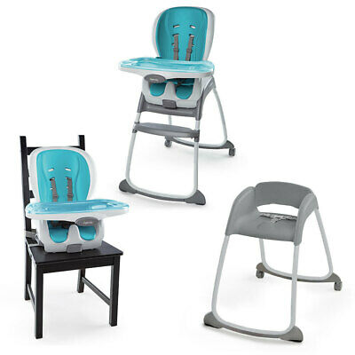Ingenuity SmartClean Trio 3-In-1 Aqua High Chair Booster Smart Baby Toddler Seat