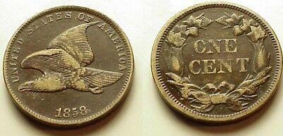 X/f 1858 Flying Eagle Cent Small Letters! Strong Details! No Reserve!