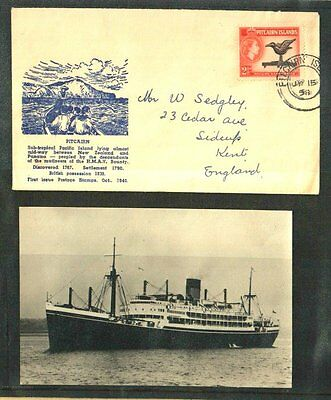 Pitcairn Islands Fine 1958 Steamer Athenic Cover + Photocard