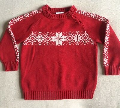 Hanna Andersson Red Cotton Pullover Sweater White Nordic Snowflakes sz 100