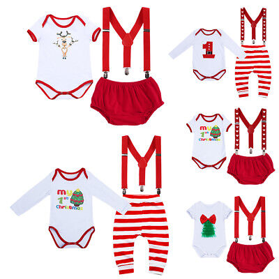 Newborn Baby Boy Girl 1st Christmas Romper +Suspender +Pants 3PCS Outfit Clothes