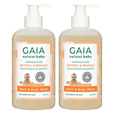 Gaia 1L Pure Organic Bath & Body Wash Vegan Friendly for Baby Kids Toddlers