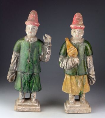 *sc* A Pair Of Chinese Ming Dynasty Pottery Attendants, 1368-1644!