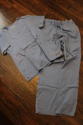 barco scrubs womens size S vneck top and pants light blue