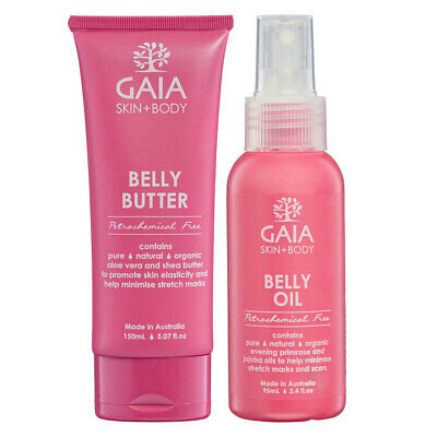 Gaia 95ml Organic Belly Oil 150ml Belly Butter No Animal Testing Pregnant Moms