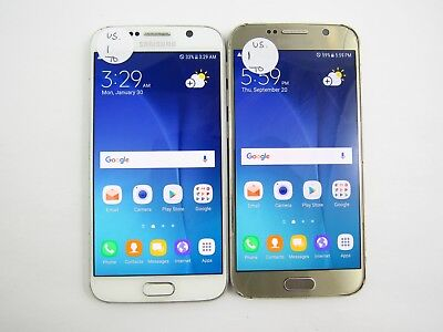 Lot of 2 Cracked Samsung Galaxy S6 G920R4 US Cellular Check IMEI CR 3-161