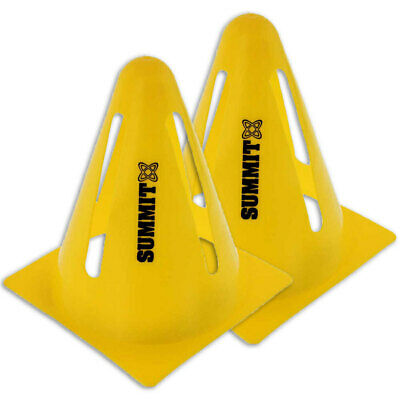 2x Summit Yellow Flexi Cones Soccer Rugby Fitness Exercise Sports Training Cone