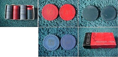 Vintage Poker Chips Clay Red Blue Lot Used