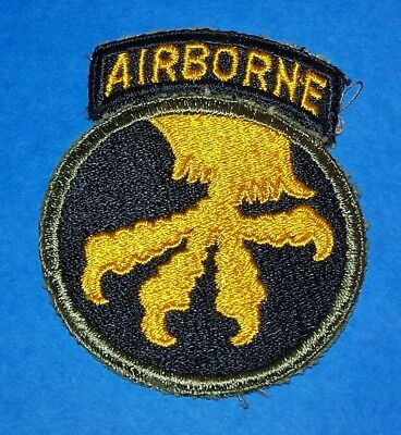 ORIGINAL WW2 17th AIRBORNE DIVISION PATCH + SEWN ON TAB, OPPOSED CLAWS!