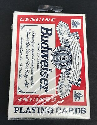 New BUDWEISER LOGO King of Beers PLAYING CARDS U.S. Playing Card Co. SEALED #350