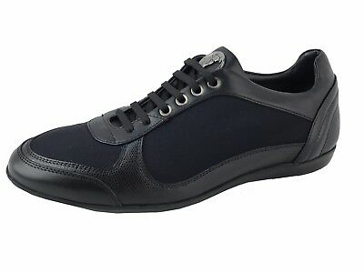 VERSACE COLLECTION MEDUSA Black Leather Fashion Sneakers Shoes 11 US 44 EU