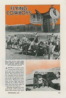 1940 Magazine Article Flying Cowboys Use Airplanes & Advances Victorville Ranch