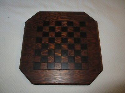 Antique 19th Century Folk Art Painted Wooden Game Board Chess Checker Nice!