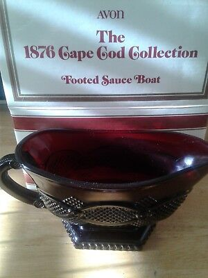 Avon The 1876 Cape Cod Collection Ruby Red Footed Sauce Boat , Gravy Boat