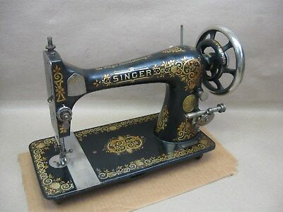 Antique 1905 Singer #27 Treadle Sewing Machine Working Head Tiffany Gingerbread