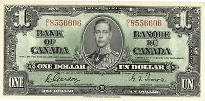 Canada $1 Dollar Currency Banknote 1937 AU