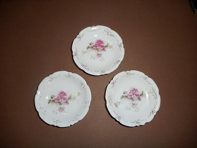 Vintage Butter Pats (3) Pink Rose Swags, Scalloped Edge Design