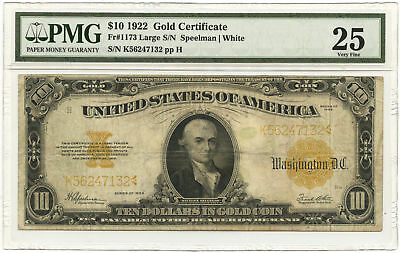 1922 $10 Large Size Gold Certificate Large Serial Numbers PMG VF-25 Fr #1173