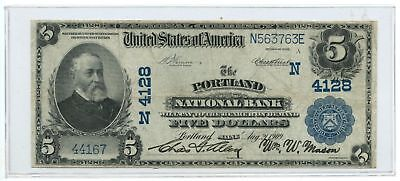 1902 $5 Banknote Plain Back The Portland National Bank Portland, ME Ch #4128