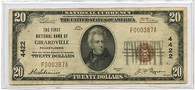 1929 $20 Banknote Type 1 The First National Bank of Girardville, PA Ch #4422